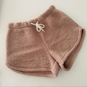 Gilly Hicks Sherpa Shorts & Sweatshirt Set